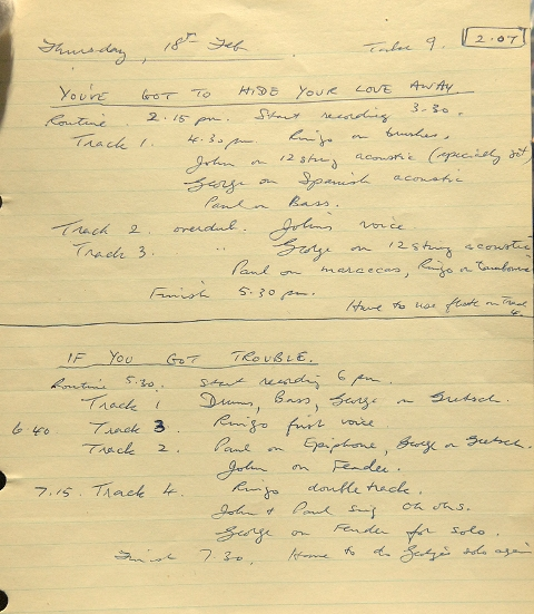 Image result for george martin handwritten notes